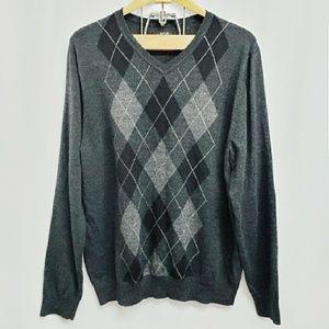 APT 9 Men's Argyle V-Neck Sweater XXL